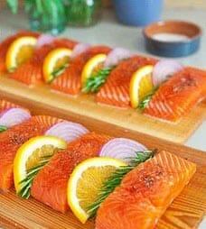 Cedar plank salmon before smoking