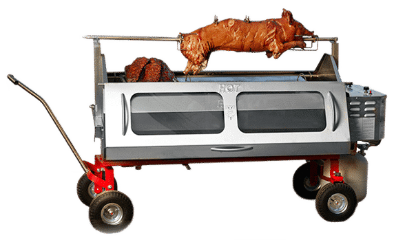 A dream come true for caterers Best commercial Méchoui Pig Roaster in the world. All in one rotisserie, steamtable, smoker & carving station.