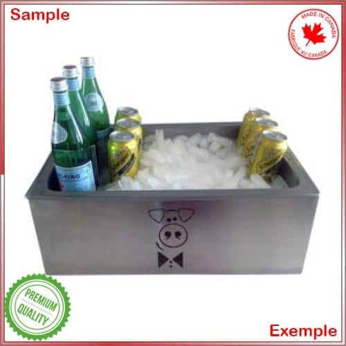 Baviator chafer rack with bottles on ice