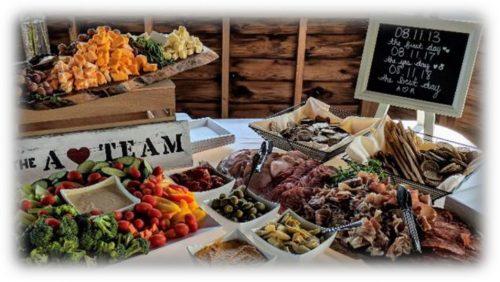 Cold buffet setup in a barn