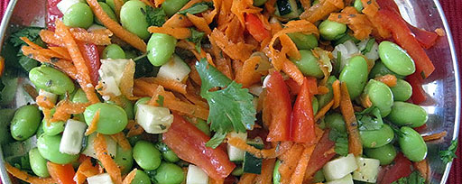 Mixed beans peppers, red onions and shredded carrot