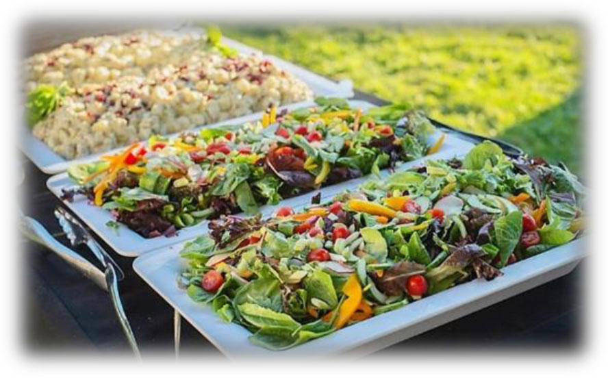 salad in chafer pans in a buffet setting