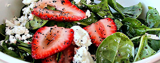 spinach strawberry goat cheese with poppy seeds
